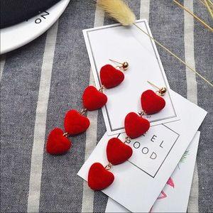 Red Fuzzy Soft Heart Dangle Earrings